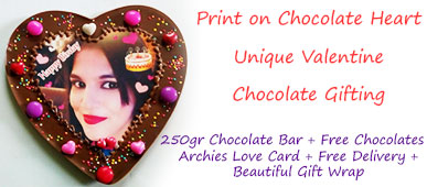 Print on Chocolate heart, unique Valentines day chocolate gifting to girl friend, boy friend, spouse, wife or husband