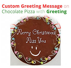 Custom message on chocolate pizza Christmas special