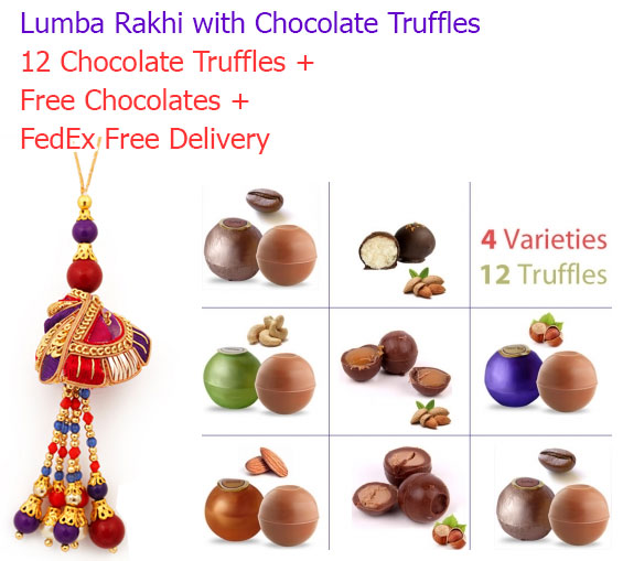 Image of Lumba Rakhi with Chocolate Truffles