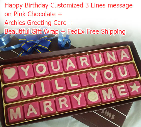 Image of Happy Birthday Message 3 lines on pink chocolates