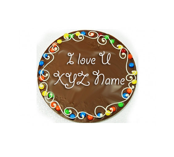 Image of Valentine Message on Chocolate Pizza with Love Card