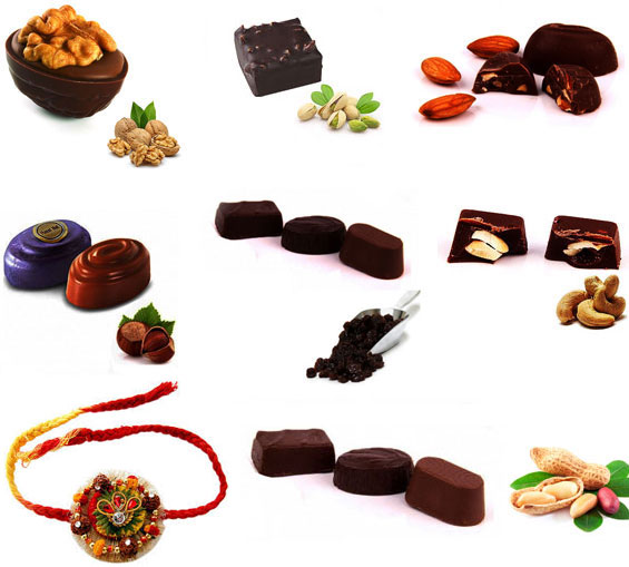 Image of Dark Chocolates with Beautiful Rakhi
