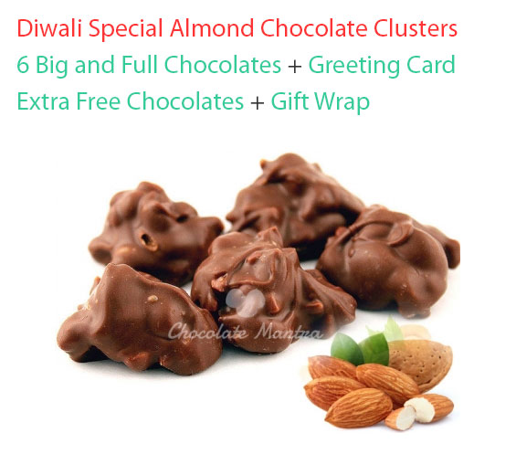 Image of Almond Chocolate Clusters - Valentine Special with Greeting card
