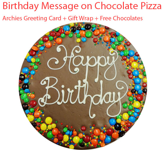 Image of Custom Message on Chocolate Pizza, Birthday Spl