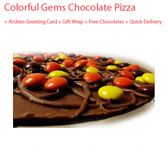 Image of Gems & Nuts Chocolate Pizza with Birthday Card