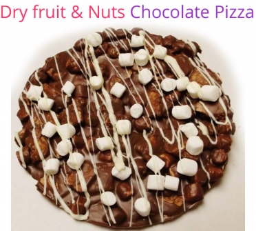 Image of Dry fruits & Nuts Chocolate Pizza Christmas Special