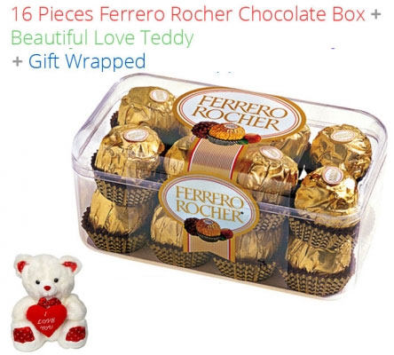 Image of 16 Pieces Ferrero Rocher Chocolates Valentines Spl + Teddy N Love Card