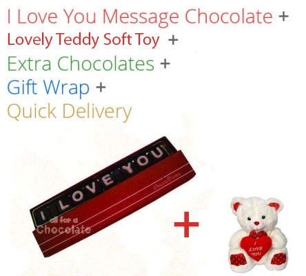 Image of I love you Message Single Line Chocolate with Teddy