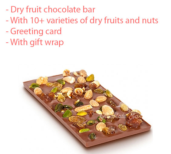 Image of Dryfruit and nuts chocolate bar gift for father's day