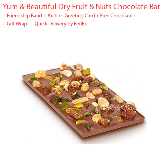 Image of Dryfruit and nuts chocolate bar gift - Friendship day Spl