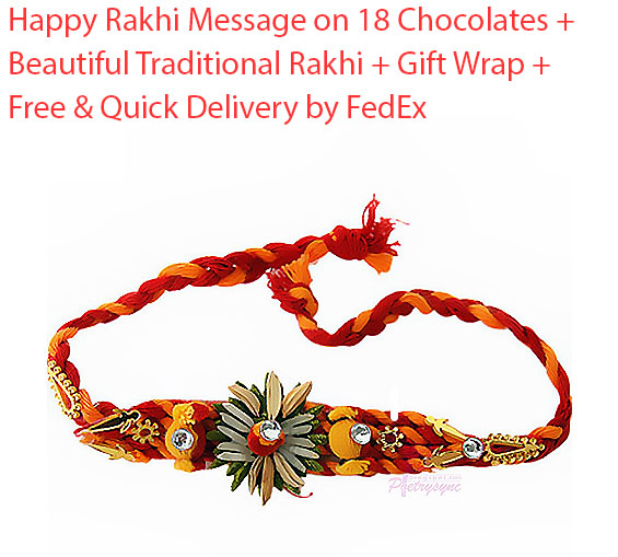 Image of Happy Rakhi Message on 18 Chocolates