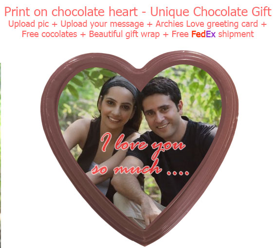 Image of Print on Chocolate Heart - Unique Love theme chocolate + Love Card