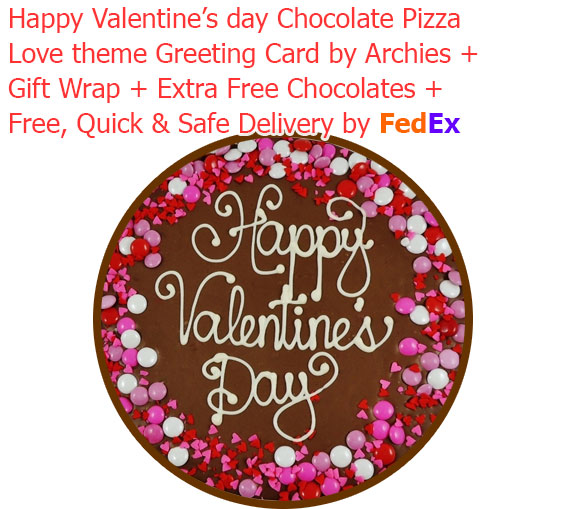 Image of Valentine's Day Special Chocolate Pizza with Love Card