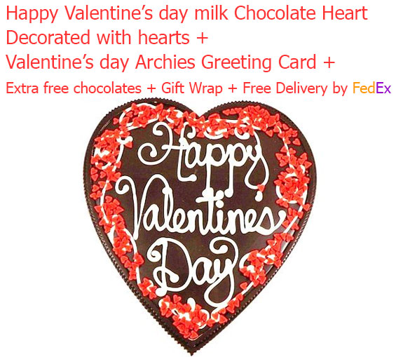 Image of Happy valentine's day milk chocolate heart with love card