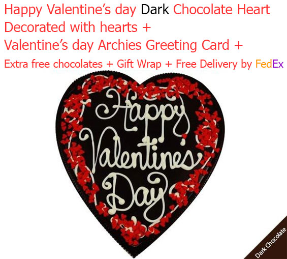 Image of Happy valentine's day dark chocolate heart with Love card