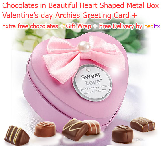 Image of 4 Truffles in Beautiful Heart Shaped Metal Chocolate Box with Love Card