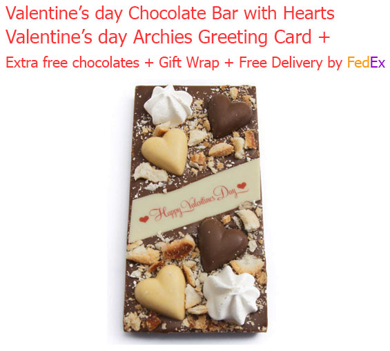 Image of Valentine's Chocolate Bar with Hearts Decoration & Love Card