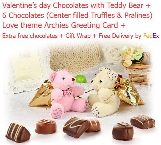 Image of 6 Amazing Chocolate Truffles & Pralines in a beautiful Teddy