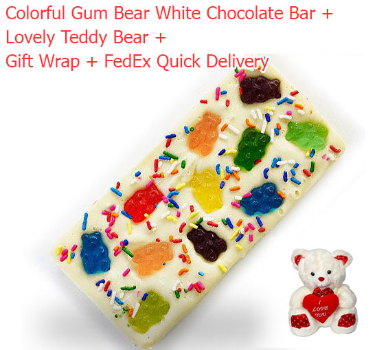 Image of Yummy & Lovely White Chocolate Bar with Gum Bears & Teddy Bear Soft Toy