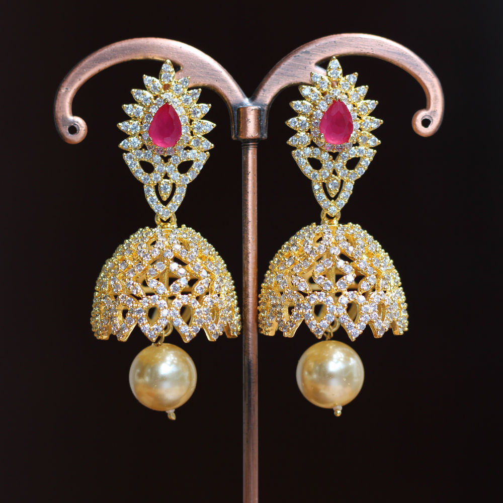 Buy American diamond Jhumkha Earrings -ruby with pearl drop for ...