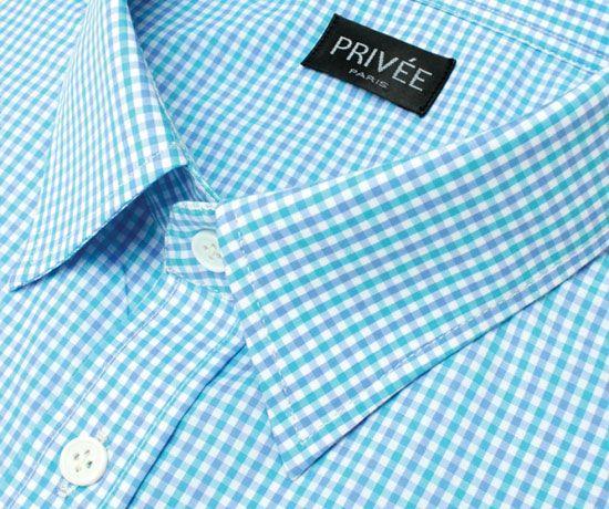 Privee Paris Blue Check Cotton Shirt