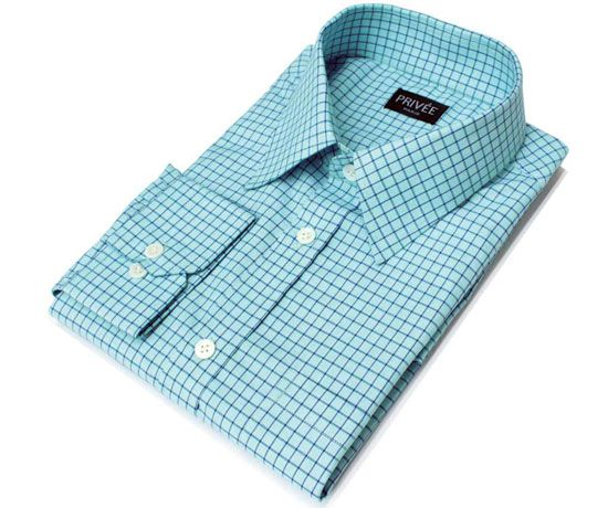 Privee Paris Sea Blue Check Cotton Shirt