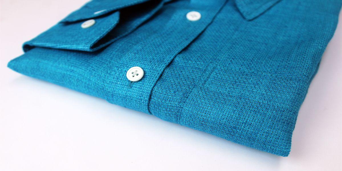 Privee Paris Blue Mesh Linen Shirt