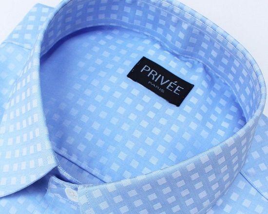 Priveeparis Blue Textured Formal Office Shirt