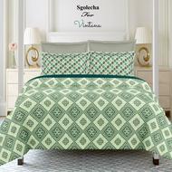 Sgolecha For Vintana Digital Super King Size Sattin Green Bedsheet With 4  Pillow Covers