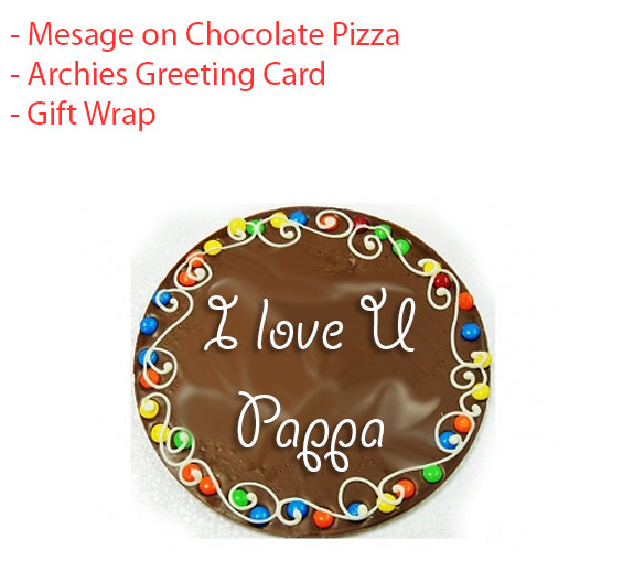 Image of Custom message on Chocolate Pizza - Father's day spl