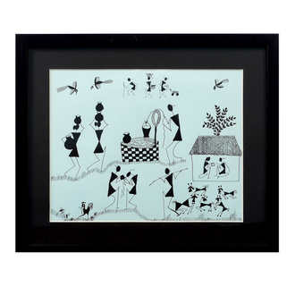 Tribal painting in Black & White Wall Hanging