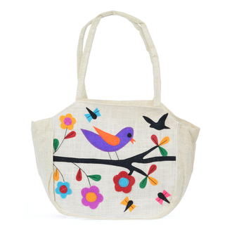 Off White Jute Bag with Nature Applique