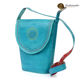 Handcrafted Turquoise Leather Weekend  Bag