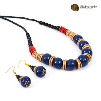 Rich Royal Blue with Antique Gold Just Beads Necklace set