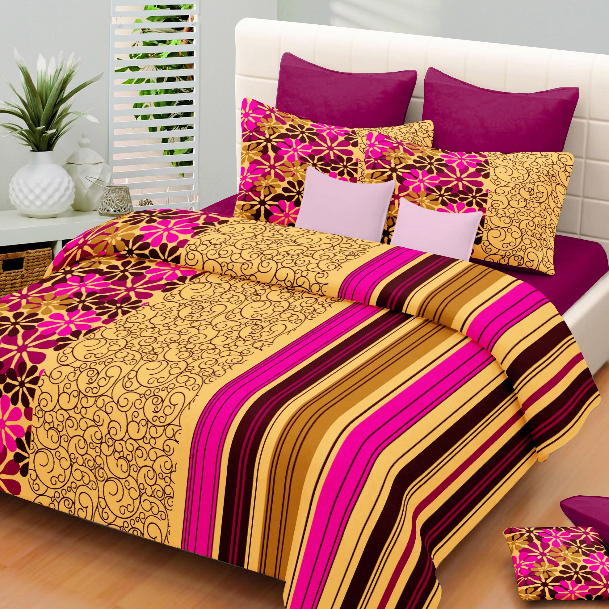 100% Cotton Brown U0026 Pink Bedsheet With 2 Pillow Covers