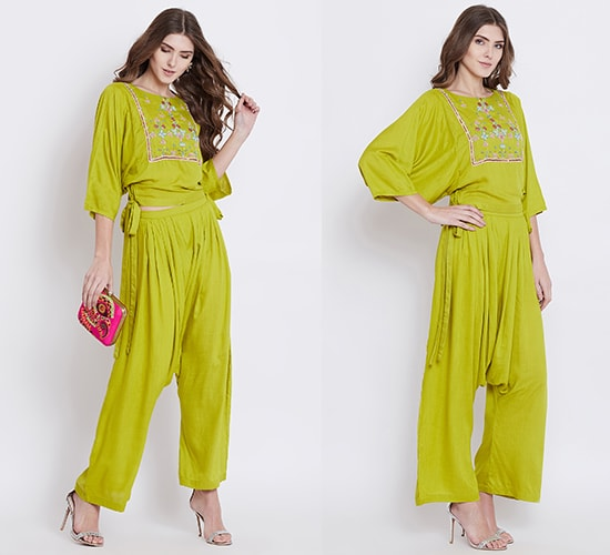 Green Elegance Embellished Top Set