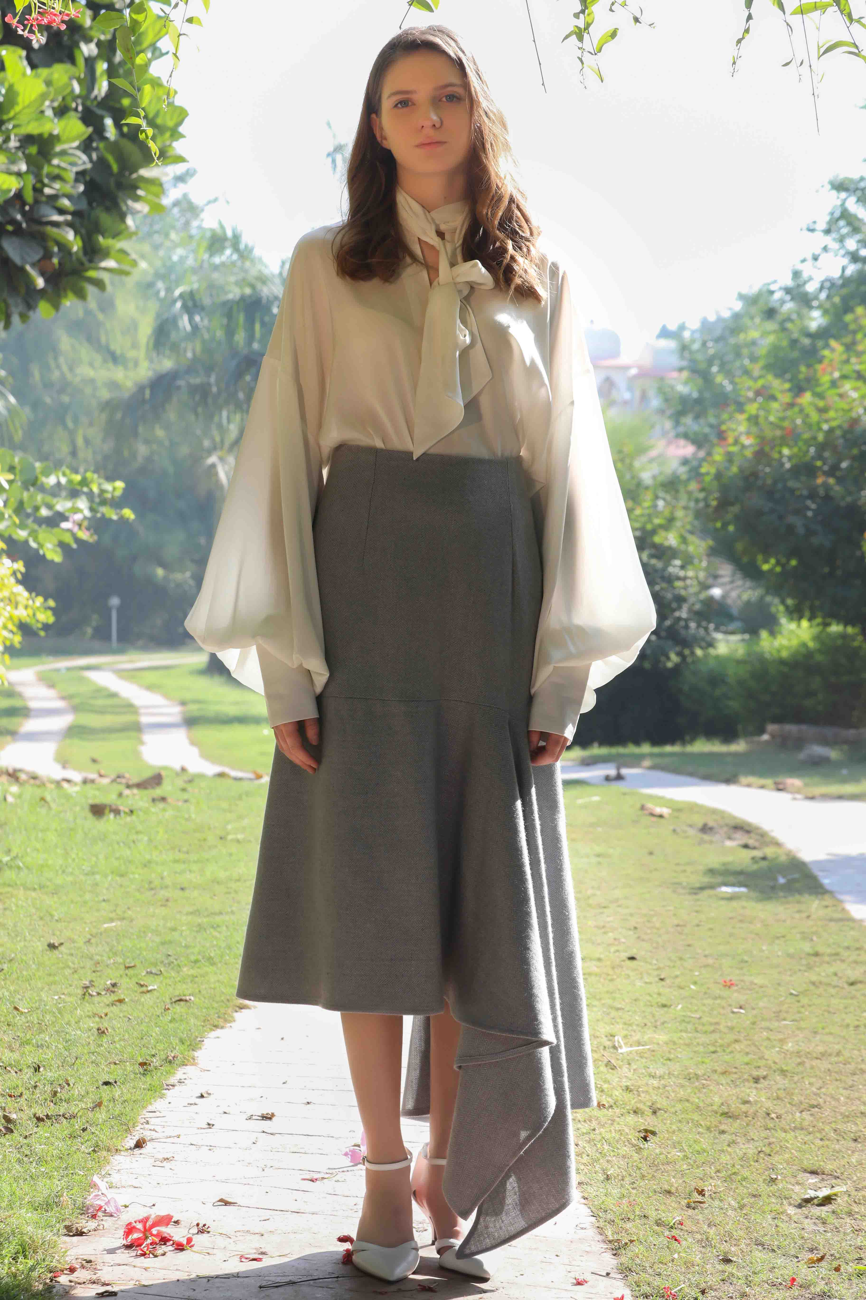 Label Meadow's, Dusty blue asymmetric skirt