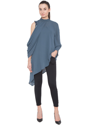 Aakaar, Grey  Cowl Tunic