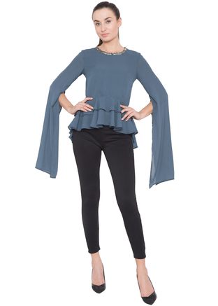 Aakaar, Grey Long Sleeve Peplum