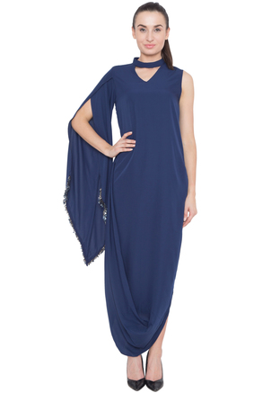 Aakaar, Mid Night Blue Cowl Drape Tunic