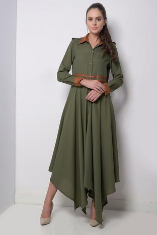 Zeniaa, Olive Green Handkerchief Dress.