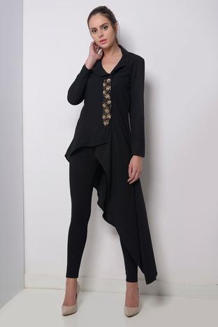 Zeniaa, Black Embellished Jacket.