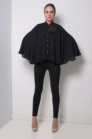 Zeniaa, Black Embellished Cape Style Shirt.
