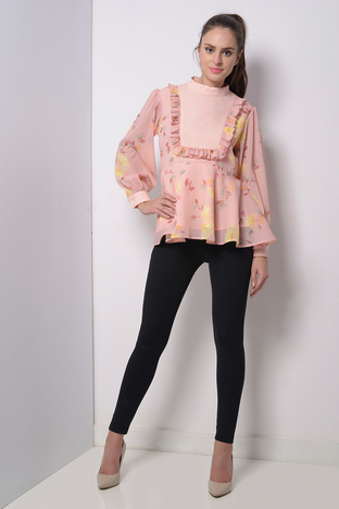 Zeniaa, Pink Flolral Top With Yoke And Frill