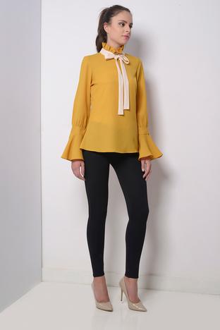 Zeniaa, Mustard Top With Frill Sleeves.