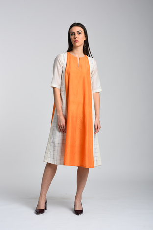 Kanelle, A-Line Colour Blocked Dress With Kantha