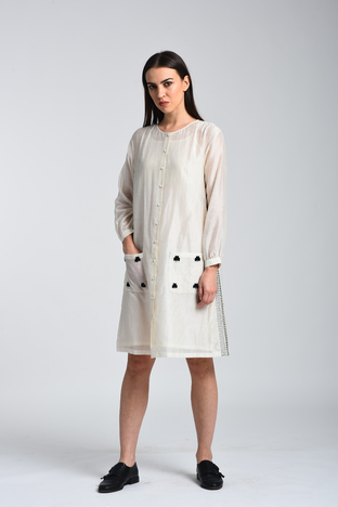 Kanelle, Shirt Dress With Kantha Detail