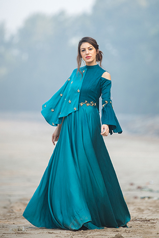 Payal Jeswani, Collar Bell Sleeve Dress