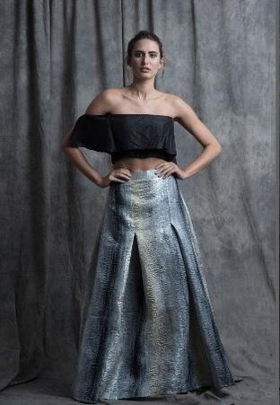 Sneh Nandu, Black Off Shoulder Crop With Jacquard Skirt