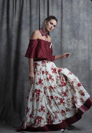 Sneh Nandu, Burgandy Detached Collar Crop With Burgandy Flower Embroidered Skirt